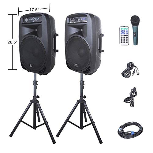 PRORECK New PARTY 15 Portable 15-Inch 2-Way Powered PA Speaker System Combo Set with Bluetooth/USB/SD Card Reader/FM Radio/Remote Control/Speaker Stand