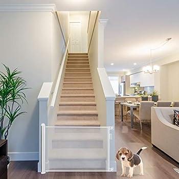 COSTWAY Barrière Rétractable pour Bébé et Animaux Domestiques, Facile à Enrouler, pour Escalier, Porte, Couloir etc. Largeur Maximal de 130cm, Base en Aluminium de Haute Qualité