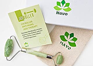 Navo Jade Roller for Face Neck and Body 100% Natural Healing Jade Stone Reduces Wrinkles and Puffy Eyes Anti Aging Therapy Treatment Skin Care Tool