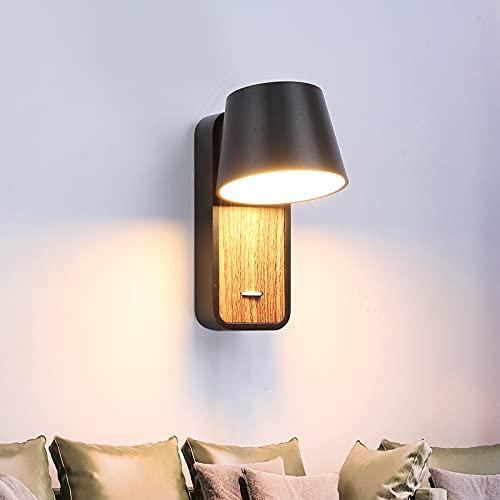 BarcelonaLED Aplique de Pared LED de Lectura Negro con Interruptor en Base de Madera Foco Orientable de 6W 2700K para Cama Cabecero Salón