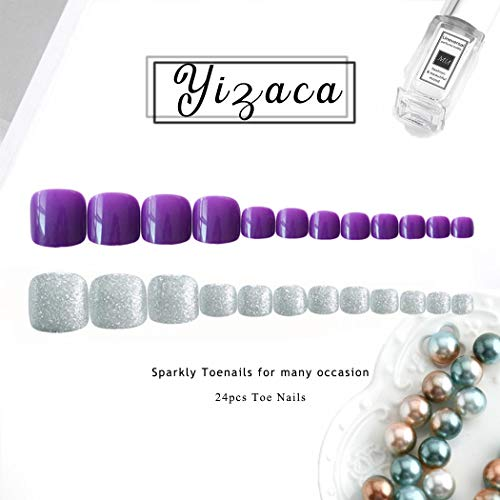Yizaca Glossy Press on Toenails Purple Silver Glitter Fake Toenails Full Cover Acrylic False Toe Nails Clip for Women and Girls (24Pcs)