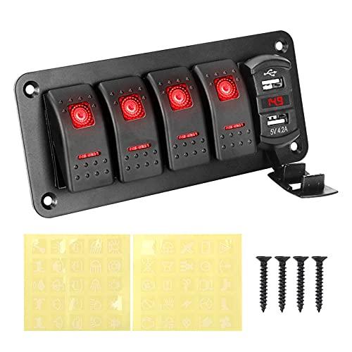 XQMY Panel de interruptores de automóviles 4 Gang Toggle Switch Dual USB Puerto DIRIGIÓ Voltímetro Digital Impermeable 1 2V /24V Ajuste para el Barco Marino automático (Color : Red)