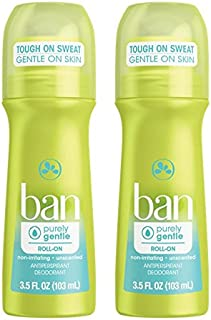 Ban Roll-On Antiperspirant Deodorant, Purely Gentle, 3.5 oz (Pack of 2)