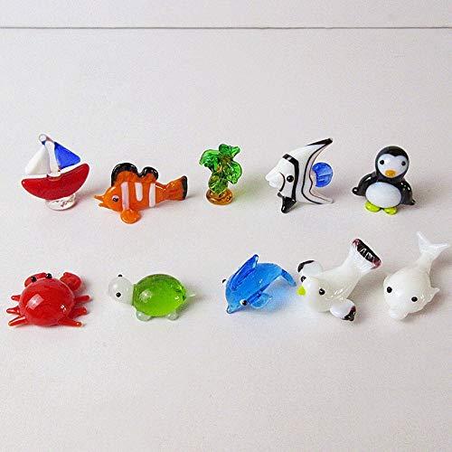 LiuliuBull L 10pcs Glass Figurine Sailboats, Clown Fish, Coconut Trees, Tropical Fish, Penguins, Crabs, Tortoises, Dolphins, Seagulls (Color : Multi Colored, Size : 2cm 2.8cm)