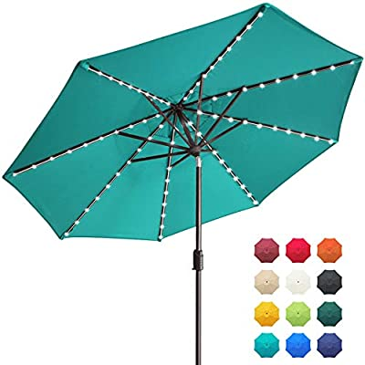 EliteShade Sunbrella Solar Umbrellas 9ft Market Umbrella with 80 LED Lights Patio Umbrellas Outdoor Table Umbrella with Ventilation and 5 Years Non-Fading Top,Teal