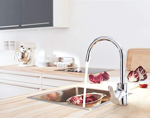 Grohe – Eurostyle Cosmopolitan Küchenarmatur, herausziehbarer Auslauf, Schwenkbegrenzung, Chrom - 2