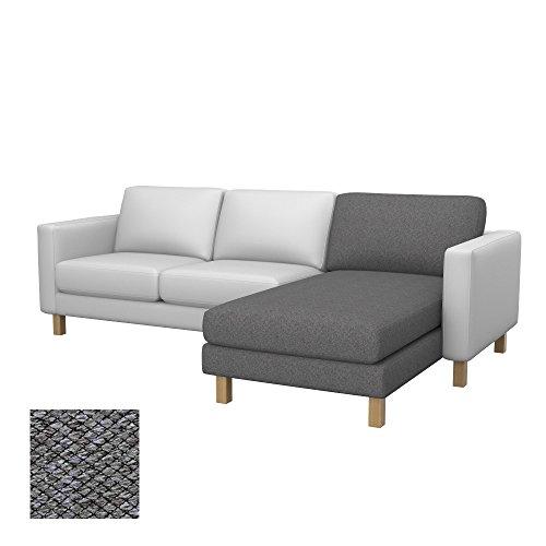 Soferia Ersatzbezug fur IKEA KARLSTAD Anbau Recamiere, Stoff Nordic Grey, Grau