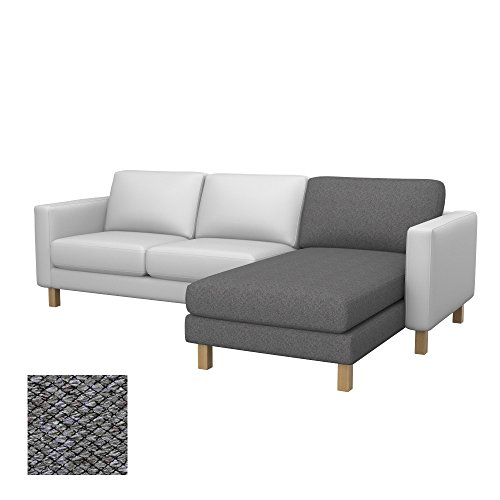 Soferia Bezug fur IKEA KARLSTAD Anbau Recamiere, Stoff Nordic Grey