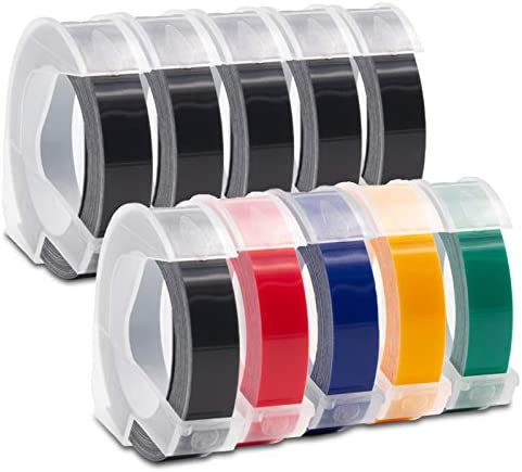10X Atoner Compatible for Dymo Embossing Label Tape 9mm 3D Plastic Labels Colored Embossing product image