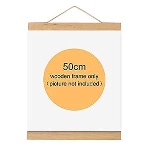 Magnético de madera marco de fotos marco de madera natural imagen Póster de arte lienzo para colgar decoración para el hogar pared blanco madera, 50cm