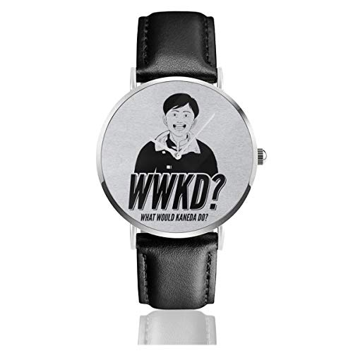 Unisex Business Casual Akira What Would Kaneda Do Uhren Quarz Leder Armbanduhr mit schwarzem Lederband für Männer Frauen Junge Kollektion Geschenk