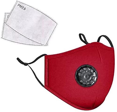 Herbruikbaar Mondkapje met ademfilter - 2 extra filters - Rood