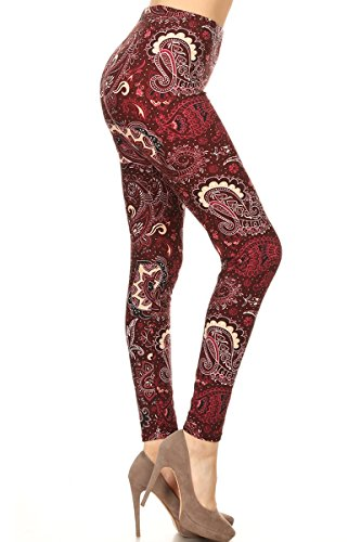 R795-OS Scarlet Paisley Print Fashion Leggings