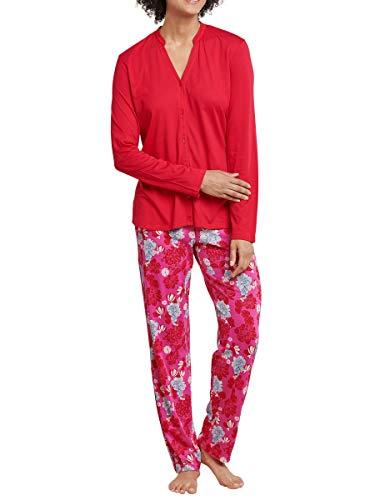 Seidensticker Damen Pyjama lang 169461 Zweiteiliger Schlafanzug, Rot (Rot 500), 36