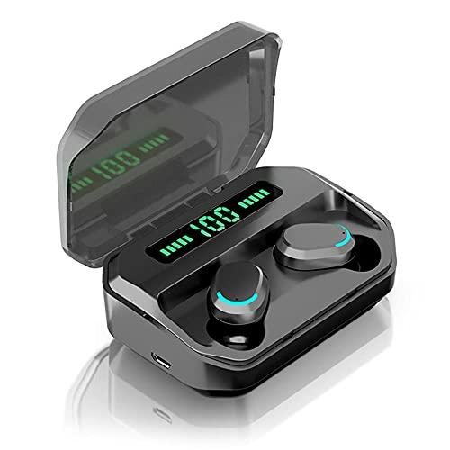 HONGJX TWS Inalámbrico Bluetooth Auriculares 9D HiFi Auriculares estéreo Auriculares en Ore Auriculares Deporte Auriculares con Pantalla y Mic para teléfono Inteligente,Negro