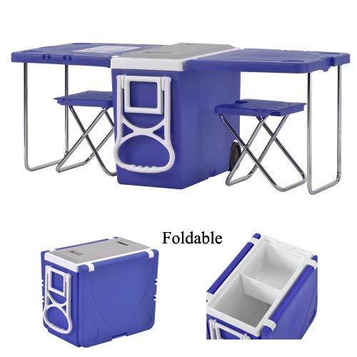 WJRX Kühlbox Kühltasche Multifunktional Klapptisch Kühltaschen Boxen Outdoor Camping Faltbar Tabelle mit Rädern, Tisch,2 Stühle,28L-Blau