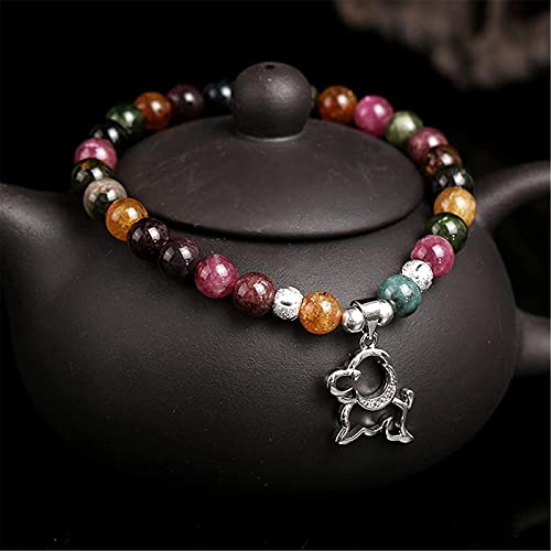 Pulsera Feng Shui Bead Feng shui pulsera natural rojo ágata turmalina 925 plateado perro brazalete buena suerte durazno flor rica amor amuleto pulsera para mujeres Pulsera de abalorios de amuleto