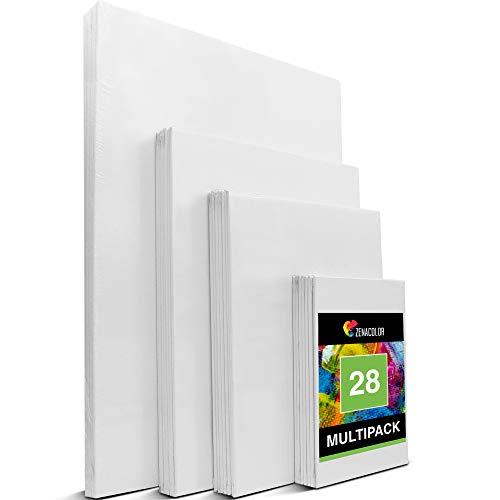 Zenacolor - Set de 28 Canvas - Laminas para Pintar Multisizes - 13x18, 20x25, 24x30, 30x40-100% Algodón sin Ácidos - Todos los tipos de Pintura sobre Lienzos