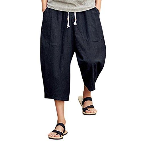Hmlai_Men Clothing Men's Summer Casual Elastic Waist Baggy Cotton Linen Harem Capri Pants with Pockets (L, Black)
