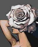 Pintar por número Flor Mujer DIY Pintura al óleo Set 40 * 50CM Lienzo sin Marco decoración del hogar acrílico Pintura de Arte Moderno.