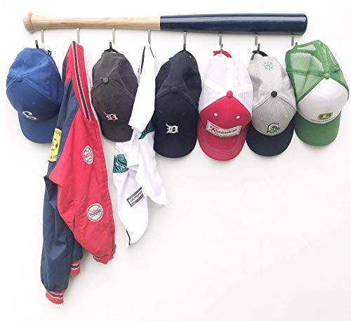 KT Bats Coat Rack Wall Mount Baseball Bat Cap Hat Towel Jersey Display Fully Assembled Unique Idea for Sports Fans Perfect Mudroom Bedroom Entryway Bathroom Organization System with 8 hook (Navy Blue)