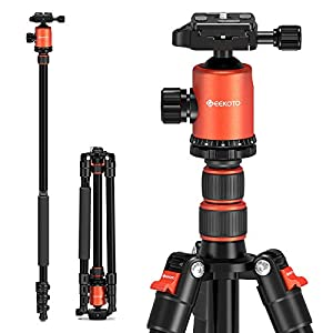 """Camera Tripod, Geekoto 77"""" Aluminum Tripod for DSLR, Monopod with 360° Panoramic Ball Head and 1/4 Inch Quick Release Plate for Photography, Travel and Work"""