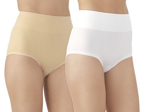 Vassarette Women's Comfortably Smooth Brief 2-Pack Panty 13274, White/Latte, 2X-Large/9