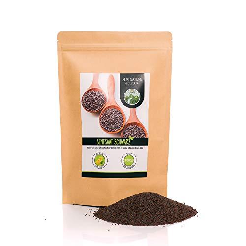 Semi di senape (1kg), semi di senape neri e marroni 100% naturali, essiccati delicatamente, semi di senape naturalmente senza additivi, vegani