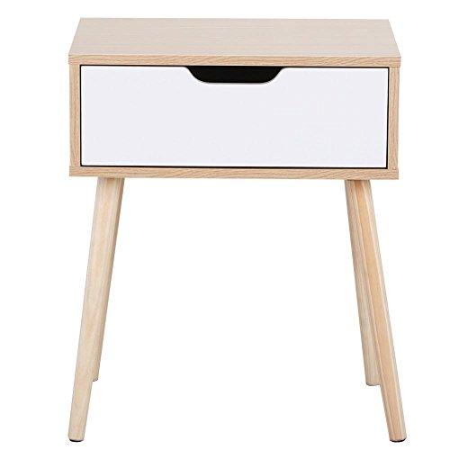 Yaheetech Nachttisch mit Schublade, Beistelltisch, modernes Design, eckiges Nachtschränkchen, Wohnzimmermöbel, massiv Holzbeine