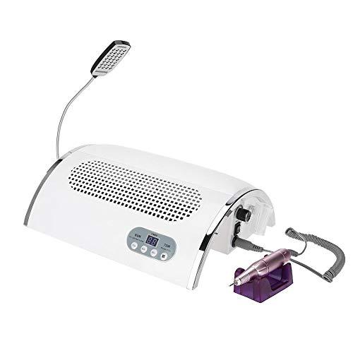 3 dans 1 outil multifonctionnel d'art d'ongle avec la manucure ¨¦lectrique de lime ¨¤ ongles ¨¦lectrique d'aspirateur intelligent de dessiccateur de LED (EU))(blanc)