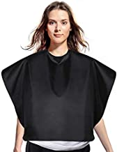 Magiczone Nylon Black Makeup Cape Short Waterproof Comb-Out Cape Professional Hair Coloring Dye Cape Lightweight Salon Shorty Smock for Clients Makeup Artist with Snap Closure - 31.5