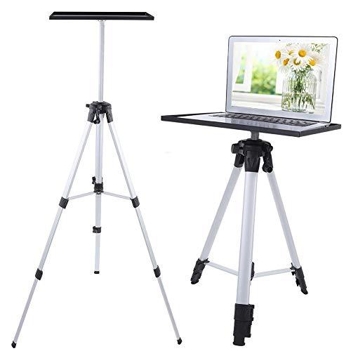 Projektor-Stativ, Beamer Ständer Aluminiumlegierung Bodenständer mit Stahl Paletten, für Projektor Beamer Laptop, 4-stufig höhenverstellbar