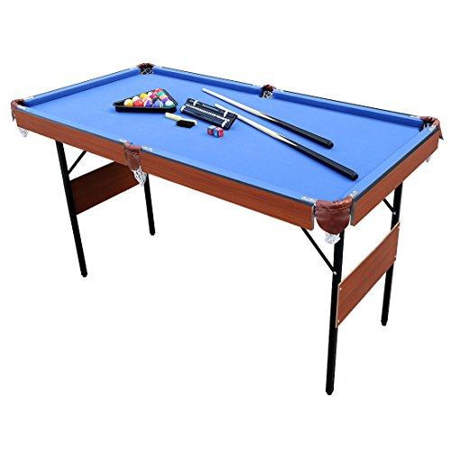 JH Mini Mesa de Billar Snooker Mesa Plegable, Color Azul, con Bolas, 140 x 74 x 80 cm