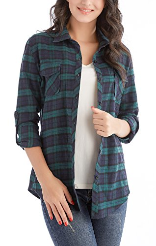 Jug&Po Womens Casual Cuffed 3 4 Long Sleeve Plaid Button Down Shirts Blouse Tops (Large Green 1)