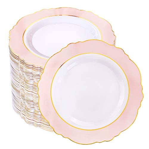 WDF 60pcs Pink Plastic Plates -Baroque Pink &Gold Disposable Dessert/Salad Plates for Upscale Parties &Wedding-Special for Bridal Shower, Mother's Day