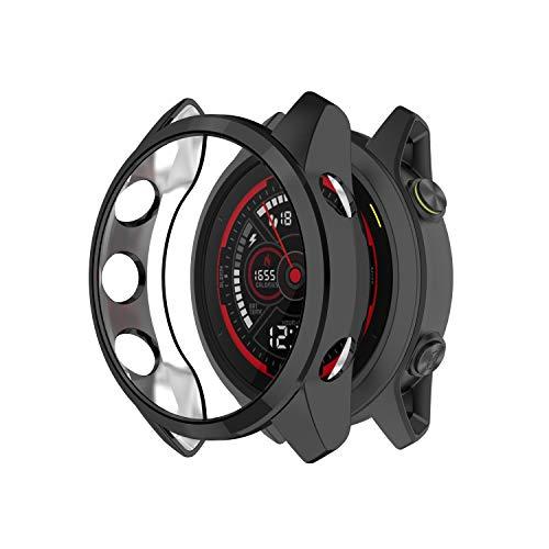 Ruentech Funda compatible con Garmin Forerunner 745, protector de pantalla, carcasa de TPU, antigolpes, resistente a los arañazos (negro)