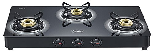 Prestige Royale Plus Schott Glass 3 Burner Gas Stove (Black)