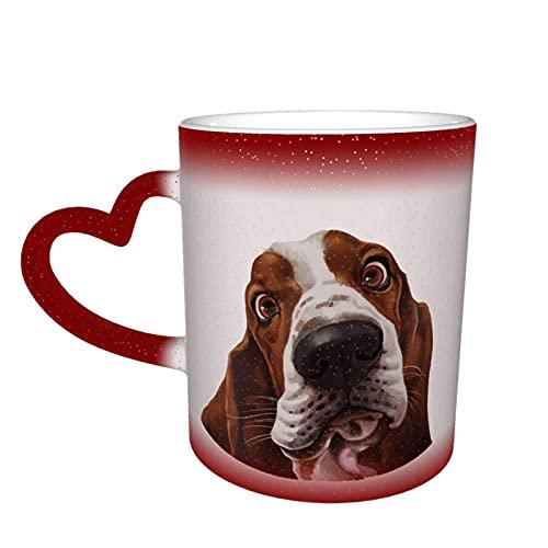 MENYUAN Taza de café lindo Basset Hound perro mágico sensible al calor color cambiante taza en el cielo tazas de café regalos personalizados para los amantes de la familia amigos
