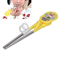 トレーニングヘルパー箸、子供用トレーニング箸304ステンレス鋼2歳以上子供用7.1 X1.6インチ断熱材(黄)