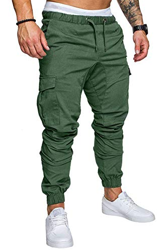THWEI Men's Cargo Pants Slim Fit Casual Jogger Pant Chino Trousers Sweatpants(Green,S)