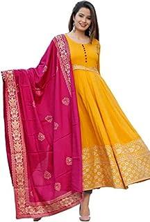 Shree Krishna Fabrics Handprinted Women's Rayon Anarkali Kurti With Banarasi Dupatta Set