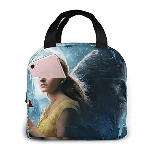 Beauty and The Beast - Bolsa de almuerzo con aislamiento impermeable reutilizable para mujeres, adultos, picnic, trabajo, escuela, etc