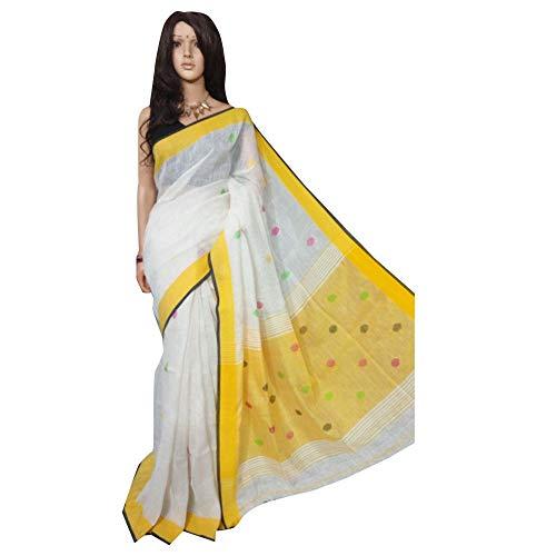 ETHNIC EMPORIUM dames wit zuiver weaving saree polka dots Formal Sari blouse Plain Border van Westen Begnal Indian Traditional 502 6,25 m zoals getoond
