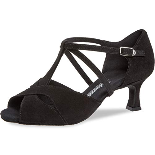 Mujeres Zapatos de Baile Latino 182-077-001 - Ante Negro - 5 cm Flare [UK 6,5]