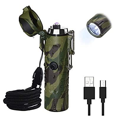 Waterproof Lighter, JiaDa Electric Lighter Flashlight USB Rechargeable Arc Lighter, Portable Handheld,IPX7 Water-Resistant for Outdoor Camping - 2 in 1 (Camouflage) from JiaDa