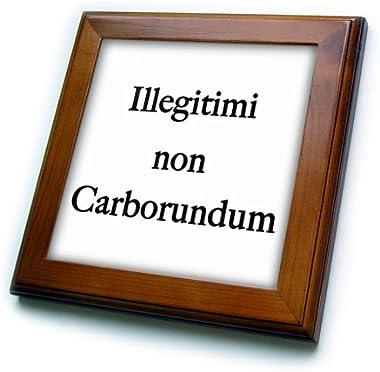 3dRose Illegitimi Non Carborundum Black Framed Tile, 6 x 6