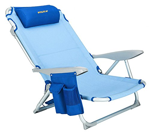 #WEJOY Aluminum Lightweight Portable 4 Position Lay Flat Folding Camping Beach Chair with Shoulder Strap Cup Holder Pocket Armrest and Headrest, Great for Outdoor Lawn Concert, Blue