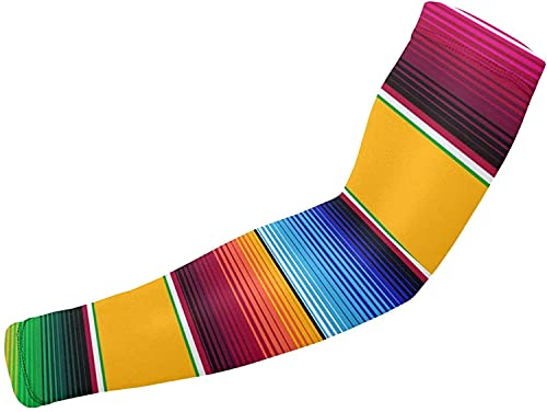 1 Pair Arm Sleeves for Elbow Brace, Baseball, Basketball,Cycling Sports Traditional Mexican Serape In Yellow UV Protection Cooling Arm Sleeves