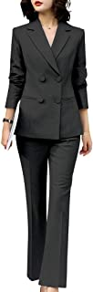 Women's Two Piece Blazer Suits Slim Fit Women Set for Business Double Breasted Office Lady Blazer Pantsuits