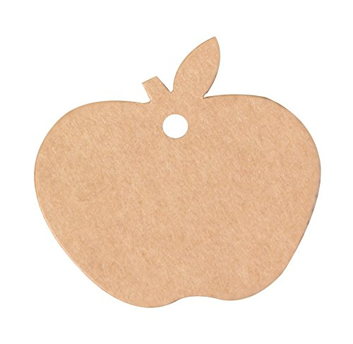 Dosige 100 stuks kaartjes, etiketten in appelvorm, kraftpapier, blanco, etiketten, kledingetiketten, prijskaartjes, blanco, doe-het-zelf etiketten voor kaarten S Bruin